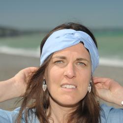 Bandeau - headband bleu - fine rayure