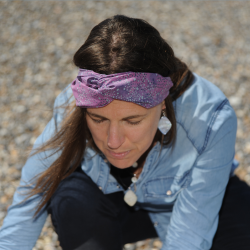 Bandeau - headband imprimé - mauve foncé