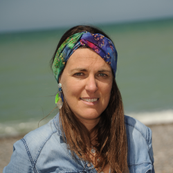 Bandeau - headband imprimé Batik - bleu vert