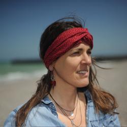 Bandeau - headband imprimé petites fleurs - rouge