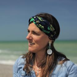 Bandeau - headband imprimé fleurs - marine