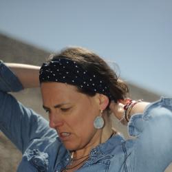 Bandeau - headband voile coton Plumetis - marine